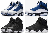 Wholesale brown gold rings - 2017 new six 6 rings men basketball shoes French Blue Cool Grey Black Silver Grey Alternate Oreo Chameleon 6s sports shoes