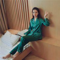 senhoras sexy lingerie cetim venda por atacado-Novo Design Calças Compridas Conjuntos de Pijamas para As Mulheres Senhoras de Cetim Verde Roupa de Dormir Luxo Turn-Down Collar Home Wear Lingerie Sexy
