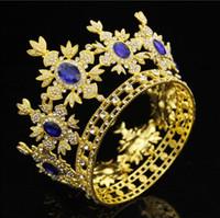 ingrosso abiti da sposa in bronzo-Barocco Royal Queen King Wedding Crown Sposa diademi e corone Piccolo Diadem Prom Dress Ornamenti Capelli Jewelry Pageant Bronze Gold Crown