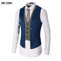 Wholesale New Gilet - 2017 New Dress Vests For Men Slim Fit Mens Suit Vest Male Waistcoat Gilet Homme Casual Sleeveless Formal Business Jacket