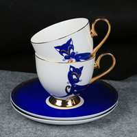 keramischer fuchs großhandel-180 ml Elegante Blue Fox Keramik Vergoldete Kaffeetasse mit Tablett Nachmittagstee Cup Suit Geburtstagsgeschenk Hochzeitsgeschenk DEC373