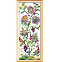 el işi iğne çapraz dikiş seti sayılır toptan satış-DIY El Yapımı Dikiş Sayılan Çapraz Dikiş Seti Nakış Kiti 14CT Güzel Çiçekler Desen Ev Dekorasyon