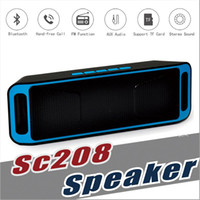 Wholesale Cheap Mini Radio Speaker - NEW SC-208 Mini Portable Bluetooth Speakers Cheap SC208 Wireless Smart Hands-free Speaker Big Power Subwoofer Support TF USB FM Radio