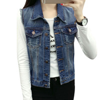 Good Quality Denim Vest Women Blazer Coats 2018 Fall All-match Jeans Vintage Waistcoat Sleeveless Street Pocket Colete Feminino