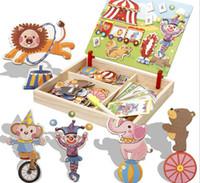 aprender a desenhar animais venda por atacado-Crianças multifuncionais de madeira animal quebra-cabeça de escrita placa de desenho magnético lousa aprendizagem educação brinquedos para crianças