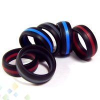 vape tank gummiband großhandel-Streifen-Ring Vape-Band-Gummi-Silikon-Ring-Blau-Rot-Grau 3 Farben passen Zerstäuber RDA vape mods Patronen Behälter e Zigarette DHL geben frei
