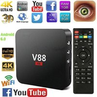 quad kern tv-box dhl versand großhandel-V88 Android 6.0 Smart TV KASTEN 4K Neueste RK3229 Quad Core 8 GB HD 1080 P WIFI Medien Dhl-freies Verschiffen
