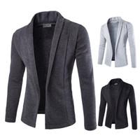 modelos de jaqueta venda por atacado-Clássico dos homens Casuais Cardigan Jacket simples dos homens Sólida Com Decote Em V Knit Jacket Clássico Masculino Modelos de Moda de 3 Opções de Cor Tamanho M-2XL