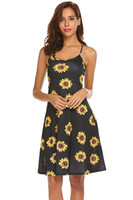 Wholesale flora costume resale online - new arrival fashion girls and ladies sunflower fancy dress costumes sunflower print spaghetti stripe mini dress