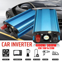 Wholesale modified sine - Solar Power Inverter 3000W 4000W LED 12 24V DC to 220V AC 50Hz Modified Sine Wave Converter Built-in Cooling Fan Manual Switch free shipping