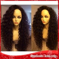 Discount synthetic wigs for african americans - Cheap Synthetic kinky curly lace front wigs afro kinky curly wigs for african american synthetic wigs heat resistant high quality 1#