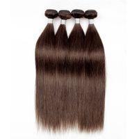 brown remy straight hair Canada - 4Pcs Brazilian Straight Hair Weave Bundles Natural Color 2 Dark Brown Quality Remy Human Hair Extension Virgin Brazilian Hair Bundles
