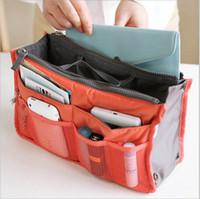 Wholesale handbag organiser inserts - Portable Double Zipper Storage Bag Insert Organiser Handbag Women Travel Bag in Bag Organizer For Cosmetics Ipad