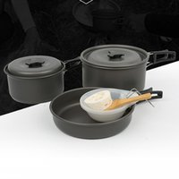 Wholesale camping pot pan cookware for sale - Group buy Lightweight Portable Outdoor Camping Hiking Cookware Backpacking Cooking Picnic Bowl Pot Pan Set Fit for Two or Three People H227Q