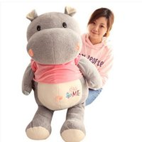 Discount hippo gifts Dorimytrader 2018 Big Animals Hippo Plush Toys Stuffed Soft Cartoon Elephant Kids Doll Pillow Cushion Gift 100cm 60cm DY61980