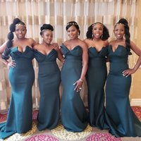 Wholesale sweetheart mermaid wedding dress cheap for sale - Dark Green Country Cheap African Mermaid Bridesmaids Dresses Sweetheart Pleats Formal Maid of Honor Dresses Wedding Guest Dresses