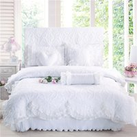 Wholesale pink pillow shams - 100%Coon Thick Quilted lace Bedding set 4 7Pcs King queen Twin size Princess Korean Girls Bed skirt set Pillow shams