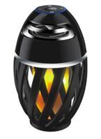 ingrosso altoparlanti mini dente blu-Danza Flicker Flame Camping Lampada all'ingrosso LED fiamma luce Wireless dente blu portatile Mini impermeabile Speaker Night Light