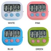 magnetic timer al por mayor-Magnético LCD Digital temporizador de cuenta regresiva de la cocina con soporte Temporizador de cocina blanco Práctico temporizador de cocina Reloj despertador