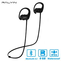 Wholesale wireless memory mp3 for sale - Bluetooth earphone with GB memory mini portable MP3 Player waterproof wireless headphone sport MP3 Player walkman headset mic