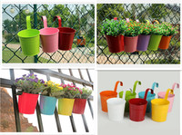 Wholesale wholesale plastic hanging flower pots - 7pcs Home Garden Metal Iron Flower Pot Hanging Balcony Plant Planter Plant Pot Home Decoration