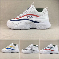 Wholesale trendy shoes for women - 2018 Wholesale FILA X Folder Ray Joint vintage shoes Brand Luxury Trendy For men women casual shoes Double-color striped vamp Sneakers