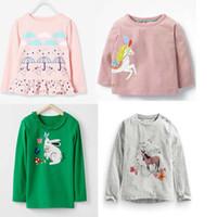t shirt yeni tasarımlar kızlar toptan satış-INS güz YENI varış Kızlar Çocuklar karikatür tavşan at tasarım uzun Kollu T gömlek çocuklar nedensel% 100% pamuk kız nedensel T gömlek
