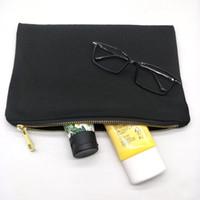 персонализированное печатное полотно оптовых-30 шт./лот простой черный хлопок холст косметический мешок с черной подкладкой пустой холст золото zip мешок пользовательские печати мешок завод бесплатная доставка DHL