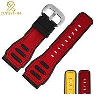 correa de reloj de caucho de silicona amarilla al por mayor-Pulsera de silicona pulsera de 28 mm correa de reloj deportivo correa de reloj de caucho de color rojo amarillo para el viernes accesorios