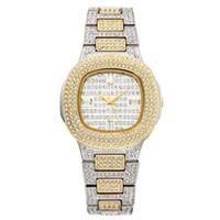 relógios de pulso de ouro para meninas venda por atacado-Marca de Relógio de Quartzo Das Senhoras Relógios de Pulso de Moda de Ouro de Diamante de Aço Inoxidável Mulheres Relógio de Pulso Meninas Femininas Relógio Horas