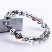 рутиловый кристалл оптовых-Brazil Genuine Natural Black Rutilated Quartz Bracelets For Women Female Stretch Crystal Round Bead Bracelet 10mm