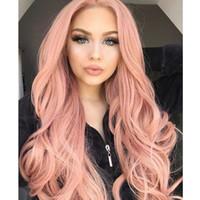 yeni dalga uzun saç toptan satış-Yeni Cosplay Peruk Pembe Renk Uzun Dalgalı Peruk Seksi Vücut Dalga Fiber Siyah Kadınlar için saç Isıya Dayanıklı Gluelese Sentetik Dantel Ön Peruk