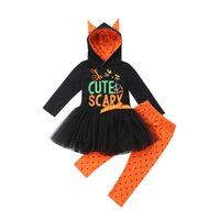 модная детская одежда оптовых-Cute Kids Baby Girl Halloween Party Clothes Toddler Girls Pumpkin Fancy Cosplay Costume Tutu Dress Hoodies Tops Pants 2Pcs Set