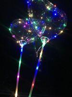 Wholesale Heart Shape Balloon Decoration - Heart-Shaped LED Bobo Balloon Romantic Wedding Transparent Luminous Colorful Balloon Room Decoration For Valentine's Day Party FVOB
