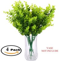 """Wholesale Indoor Plant Decor - Artificial Plants Shrubs Pack of 4 Faux Plastic 14"""" Eucalyptus Leaves,Fake Simulation Greenery Garden,office,indoor decor plants,G"""