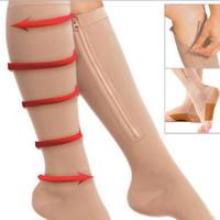 Wholesale zipper socks - Compression Socks Women Zipper Compression Socks Zip Leg Support Knee Sox Open Toe Sock S M XL Burn Fat varicose veins Stockings