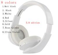 noir bluetooth mp3 achat en gros de-Haute qualité 3.0 casque sans fil bandeau sur les casques d'oreille bluetooth 8 couleurs noir mat rose doré par dhl