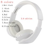 Wholesale mp3 roses - High Quality 3.0 wireless headphones headband over ear headsets bluetooth 8 colors matt black rose golden by dhl