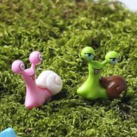 ingrosso ornamenti in miniatura-Miniature Lumaca Figurine Decor Fairy Garden Dollhouse Ornament Colore casuale