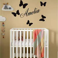 Wholesale personalized nursery art online - Personalized Name and Butteflies Wall Stickers for Nursery Kids Room Girls Vinyl Decals Playroom Art Decor Murals K579