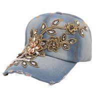 ingrosso cappelli blu jean-New Vogue Women Diamond Flower Berretto da baseball Summer Lady Jeans Cappelli New Blu scuro