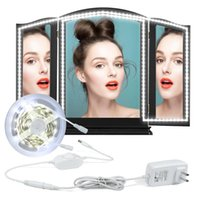 Wholesale led lights for table decorations - LED Vanity Mirror Lights Kit 4M LED Mirror Light Strip 240 LEDs Soft Daylight White with Dimmer and Power Supply for Makeup Dressing Table