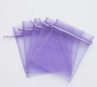 bolsos de lazo púrpura al por mayor-Ventas calientes ! 100pcs LT PÚRPURA de lazo organza bolsas de regalo 7x9cm banquete de boda bolsas de regalo del favor de la Navidad
