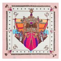kare baskı toptan satış-H Marka Kadınlar Kare Ipek Eşarp Kırmızı Korsan Gemisi Baskı Şal ve Sarar Fular Femme Joker Bayanlar Küçük Dimi Atkılar 60 * 60 CM