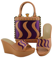 venda de bolsas de pêssego venda por atacado-Venda quente de pêssego e roxo mulheres bombas com um grande saco conjunto de sapatos africanos bolsa de fósforo para o vestido MD005, calcanhar 9.5 CM