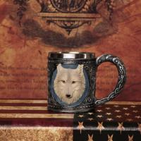 Wholesale skeleton helmets - 3d Stainless Steel Skull Mug Skeleton Helmet Wolf Death Design Home Bar Party Drinking Cup Halloween Gift