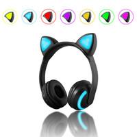модные наушники для наушников оптовых-Bluetooth Cat наушники-вкладыши мода 2018 складной мигающий светящиеся симпатичные гарнитура наушники с микрофоном светодиодные 7 цветов изменение