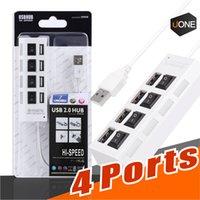 ports usb hub großhandel-4 Ports Hub USB-Anschlüsse Hochgeschwindigkeits-USB 2.0 480 Mbit / s Ein / Aus-Schalter Tragbarer USB-Splitter Kompatibel mit USB 1.1 / 1.0 Mit Paket