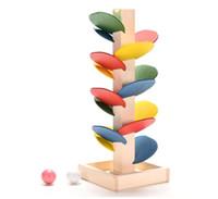 intelligenzblöcke großhandel-Holzbaum Marmor Ball Run Track Spiel Baby Montessori Blöcke Kinder Kinder Intelligenz Pädagogisches Modellbau Spielzeug