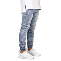 diseños de corredores al por mayor-Moda Stretch Men Jeans Denim Jogger Design Hip Hop Joggers para hombres Y5036